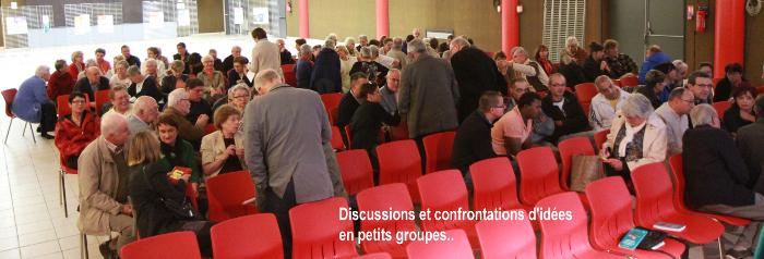Le 7 octobre, forum citoyen sur les préjugés sur les personnes vivant dans la précarité et la pauvreté, avec Thierry Kuhn (Emmaüs) et Jean-Christophe Sarrot (ATD Quart Monde). Photo Alain Pointu